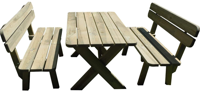 Platan Room Gartenmöbel aus Kiefernholz 120 cm / 150 cm / 180 cm breit Gartenbank Gartentisch Kiefer Holz massiv Imprägniert (Set 1 (Tisch + 2 Bänke), 180 cm)