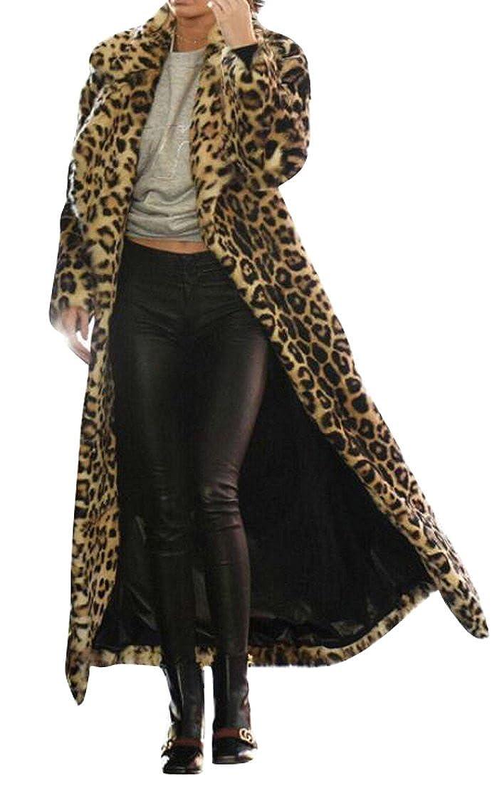 Oberora-Women Leopard Print Faux Fur Long Coat Cardigan Overcoat Outwear