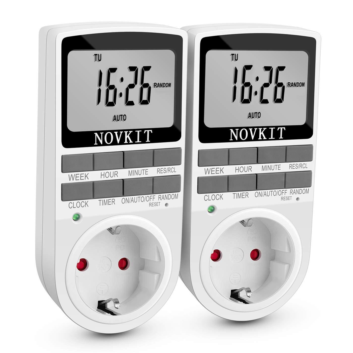 Digitale Elektrische Zeitschaltuhr Steckdose mit 10 programmierbaren Schaltprogramme wö chentliche minutengenaue Schalter der Lampe und einbruchsicheren Zufallsschaltung (2er Pack) NOVKIT