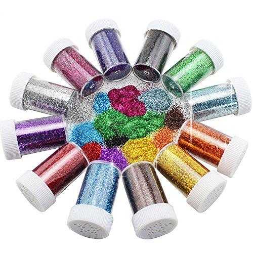 Botes con purpurina de Xshelley, ideales para niños, manualidades y decoración con purpurina, 12 colores variados ideales para niños Xshelley-SH