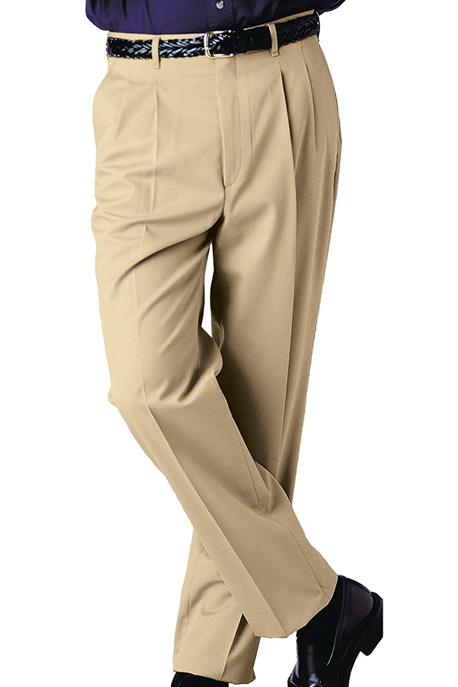 Edwards Mens Business Casual Pleated Chino Pant Khaki