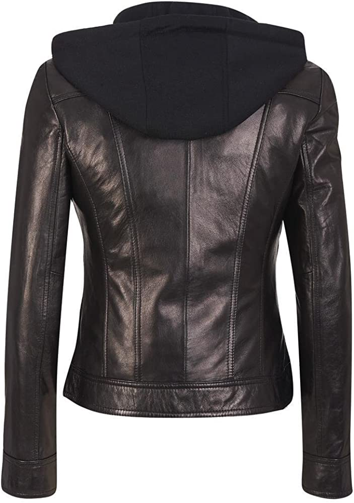 RedSeam Womens Genuine Lambskin Leather Slim fit Biker Jacket RW078 Detachable Hood