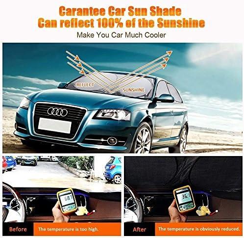 Heat Insulation Best for Compact Cars 210T Fabric Foldable Midsize Sedans and SUVs 100/% UV Ray Reflector Car Sunshade Carantee Windshield Sun Shade Portable Classic 60 x 28