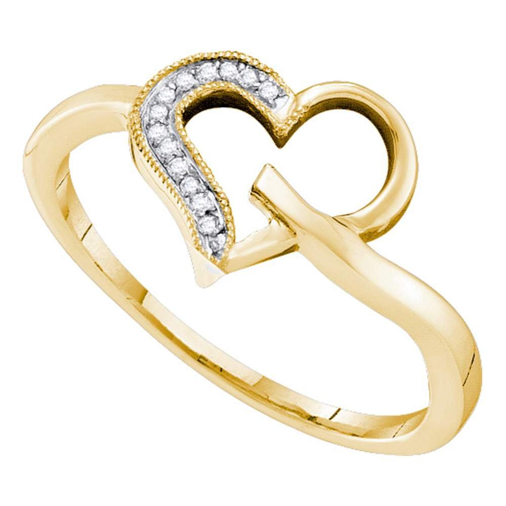 10kt Yellow Gold Womens Round Natural Diamond Heart Love Fashion Ring (.50 cttw.) (I2-I3)