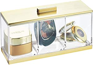 mDesign Plastic Makeup Organizer Storage Canister Box with 3 Sections and Lid for Bathroom Vanity Countertops - Holder for Cotton Balls, Swabs, Rounds, Lipstick - Clear/Soft Brass