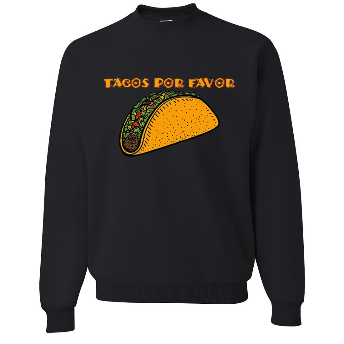 Black Medium Dolphin Shirt Co Tacos Por Favor Crewneck Sweatshirt