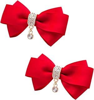 TOOKY Women' Ribbon Bow Crystal Pendant Removable Shoe Clips Clutch Wedding Decoration Pack of 2