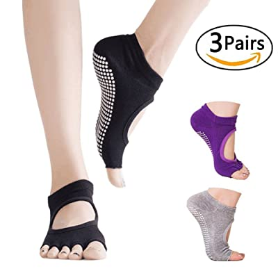 3 Pairs Yoga Socks for Women Toeless Sports Socks Non Slip Yoga Grip Socks for Pilates,Ballet,Barre