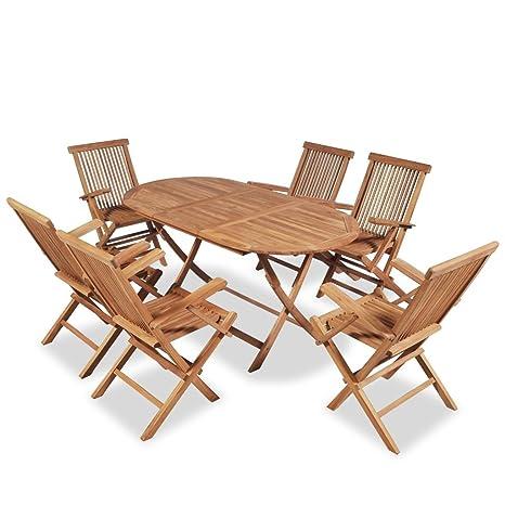 Sedie Legno Da Esterno.Vidaxl Set 7 Pz Da Esterno Giardino Pranzo Tavolo E 6 Sedie In Legno