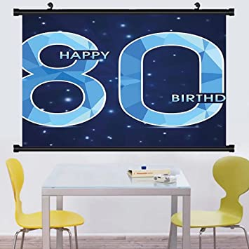 Gzhihine Wall Scroll 80th Birthday Decorations Grandparent Party Balloons With Curvy Swils Art Hanging
