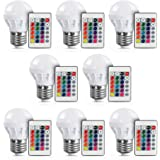 LVJING E26 LED Light Bulb with Remote Control, 3W E27 RGB Color Changing Lamp Dimmable, 16 Color Choice, Decorative Mood Light for Birthday Party Wedding Bedroom Desk Decoration, 8 Pack