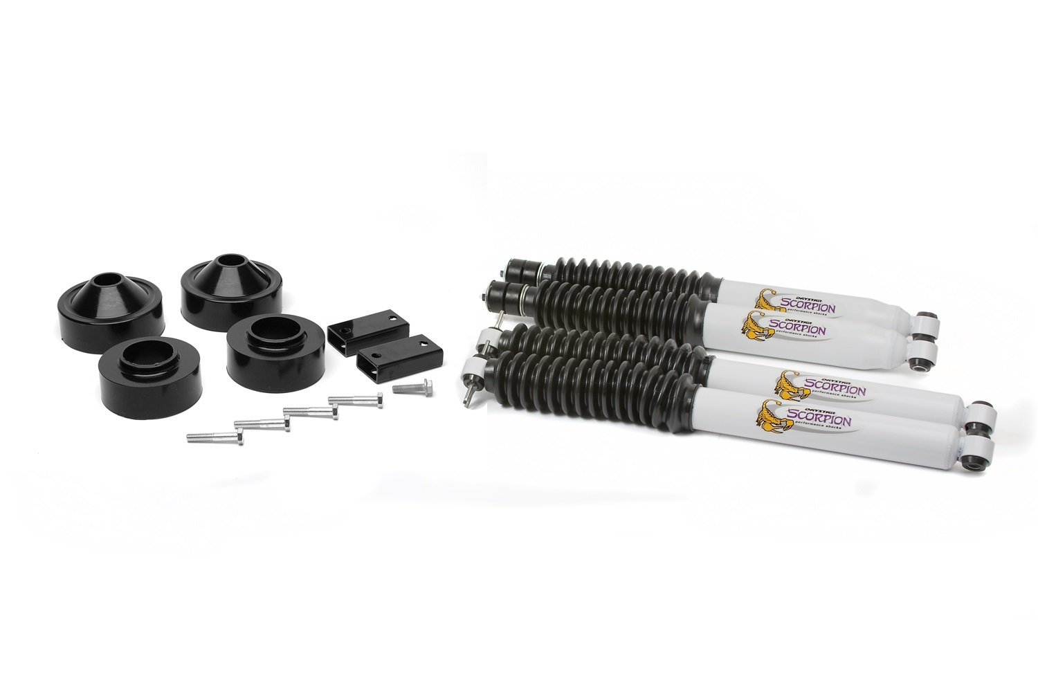 KJ09159BK Jeep JK Wrangler 1.75 Lift Kit with front and rear shocks fits 2007 to 2017 2//4WD Made in America Daystar all transmissions