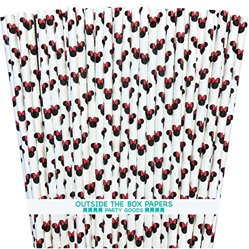 Minnie Mouse Theme Paper Straws - Mouse Ears - Red Black White - 7.75 inches - 50 Pack - Outside The Box Papers Brand