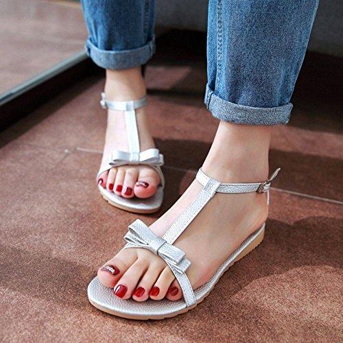 COOLCEPT Mujer Moda Correa En T Sandalias Punta Abierta Planos Zapatos With Bowknot Chicas Colegio Plata