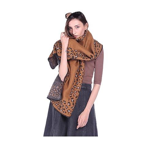 Mujer Leopardo Extra Grueso Bufanda Estolas Chales Wrap(Amarillo)