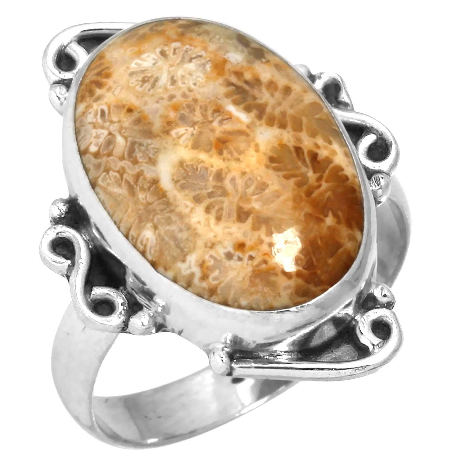 Natural Indonesian Fossil Coral Gemstone Unique Jewelry Solid 925 Sterling Silver Pendant