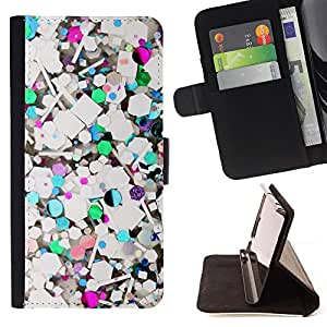 For HTC One M8 Abstract Teal Glitter White Purple Style PU Leather Case Wallet Flip Stand Flap Closure Cover