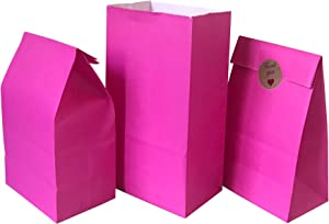Party Favor Bag 50 pcs Food Safe Paper and Ink, Natural (Biodegradable), Vivid Colored Self-Stand Buffet Bags, Bottom Square Paper Treat Bag. with 60 pcs Stickers 1.5 inch. (Hot Pink)…