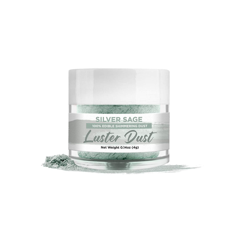 BAKELL Silver Sage Edible Luster Dust & Paint, 4 Gram   LUSTER DUST Edible Powder   KOSHER Certified Paint, Powder & Dust   100% Edible & Food Grade  Cakes, Cupcakes, Vegan Paint & Dust (Silver Sage)