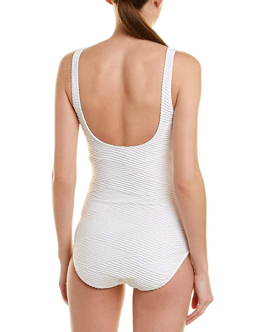 Gottex Womens Textured Square Neck One Piece Swimsuit