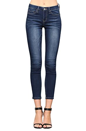 4975358ad0a Vervet by Flying Monkey Toxic Love Mid Rise Medium Dark Wash Super Soft  Ankle Skinny Jeans