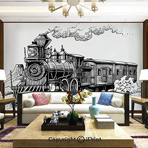 Lionpapa_mural Nature Wall Photo Decoration Removable & Reusable Wallpaper,Rustic Old Train in Country Locomotive Wooden Wagons Rail Road with Smoke,Home Decor - 66x96 inches ()