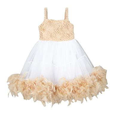 adfa701f807 Amazon.com: Girls Ivory Tan Rosette Top Feathery Flower Girl Dress ...