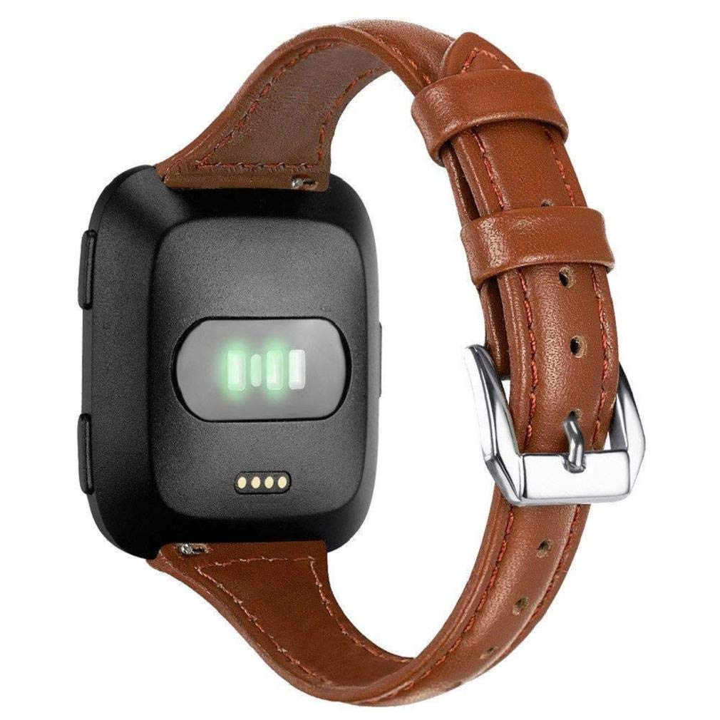 Fashion Clearance! Noopvan Leather Strap for Fitbit Versa Bands,Adjustable Replacement Genuine Leather Wristband with Metal Connectors Fitness Smart Watch for Men Women (Brown)
