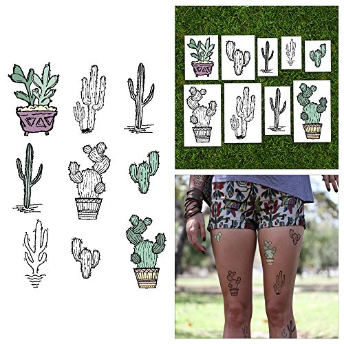 Cactus Costume Uk (Tattify Pastel Desert Cactus Temporary Tattoos - Get Pricked (Set of 18) - Premium Quality, Long Lasting and Waterproof)
