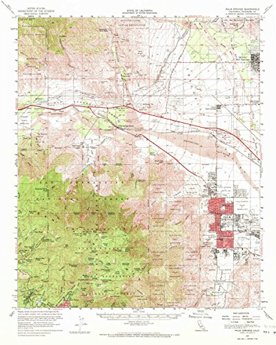 YellowMaps Palm Springs CA topo map, 1:62500 Scale, 15 X 15 Minute, Historical, 1957, Updated 1972, 20.8 x 16.6 in - ()