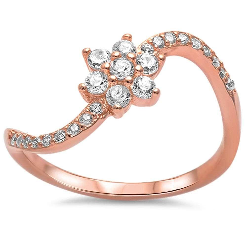Brightt Rose Gold Plated Cz Flower .925 Sterling Silver Ring Sizes 4-10