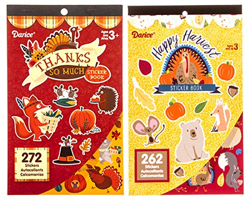 2 Thanksgiving Fall Harvest Theme Sticker Books for Kids with a Total of 534 Assorted Stickers