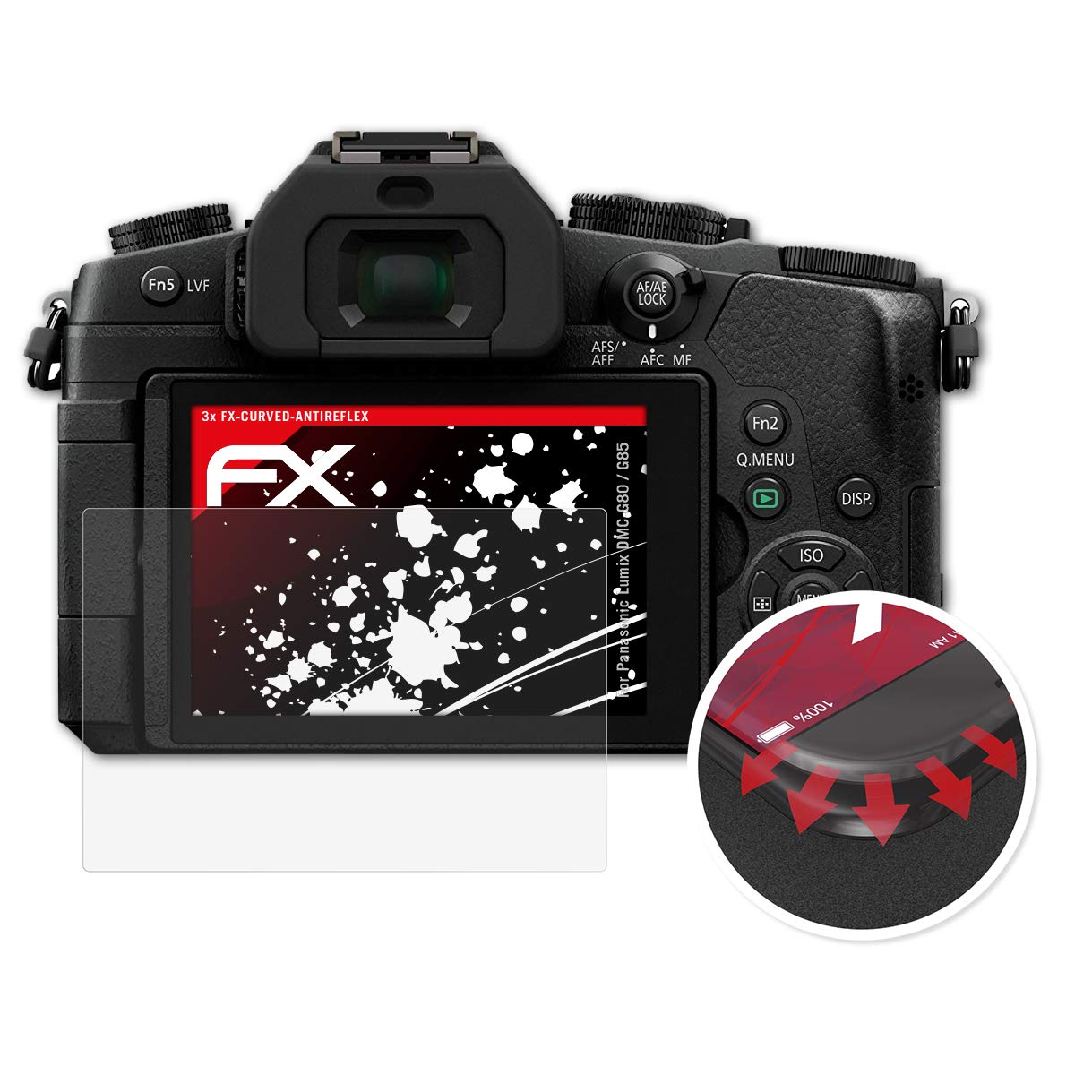 G85 Anti-Choc Film Protecteur atFoliX Anti-Casse Protecteur d/écran pour Panasonic Lumix DMC-G80 3X antireflet et Flexible FX Protecteur d/écran