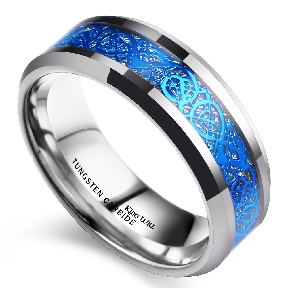 King Will Dragon Men Women 8mm Tungsten Carbide Ring Blue Celtic Imitated Meteorite Inlay Ring Beveled Edge(10) by King Will (Image #2)