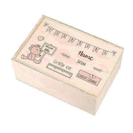 mit Namen des Kindes und Geburtsdaten bedruckt Jungen Striefchen/® Holzbox zur Erinnerung an das erste Babyjahr oder als Geschenk zur Geburt