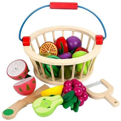 YVSoo 12Pcs Juguetes de Frutas y Verduras Cortar Magnético Alimentos de Juguete Juego de Cocina Madera Juguetes de Cocina Juegos de Aprendizaje y Coordinación para Niños (B): Juguetes y juegos