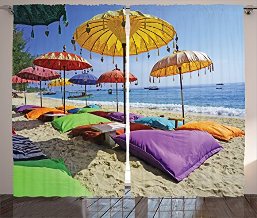 Balinese Decorative Umbrella (Ambesonne Balinese Decor Collection, Pristine Beach Bathed by the Bali Sandy Seashore Daytime Umbrellas Pillows Leisure Image, Living Room Bedroom Curtain 2 Panels Set, 108 X 84 Inches, Yellow Red)