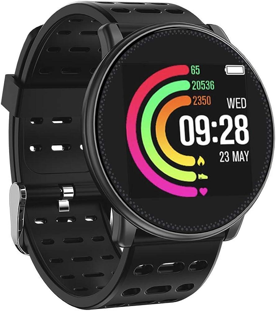 UMIDIGI UWatch, Montre Connectée Podometre Smartwatch Bracelet Connecté Etanche IP67 Femme Homme Enfant Sport Cardio Fitness Tracker d'Activité Cardiofréquencemètre pour Android iOS Smartphone- Noir