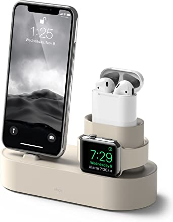 elago 3 in 1 Charging Stati (Classic White) Compatible with Apple Watch Series 5/4/3/2/1, Apple AirPods 2/1, iPhone 11 Pro Max/11 Pro/11/X and All ...