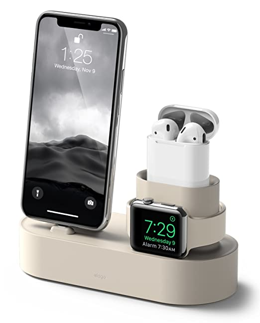 the best attitude bd7d8 1eba5 elago Charging Hub [Classic White] - [3 in 1 Charging Stand] - for Apple  Watch Series 4 (2018)/3/2/1; Apple AirPods 1 & 2; iPhone Xs/XS Max/XR/X/8/8  ...
