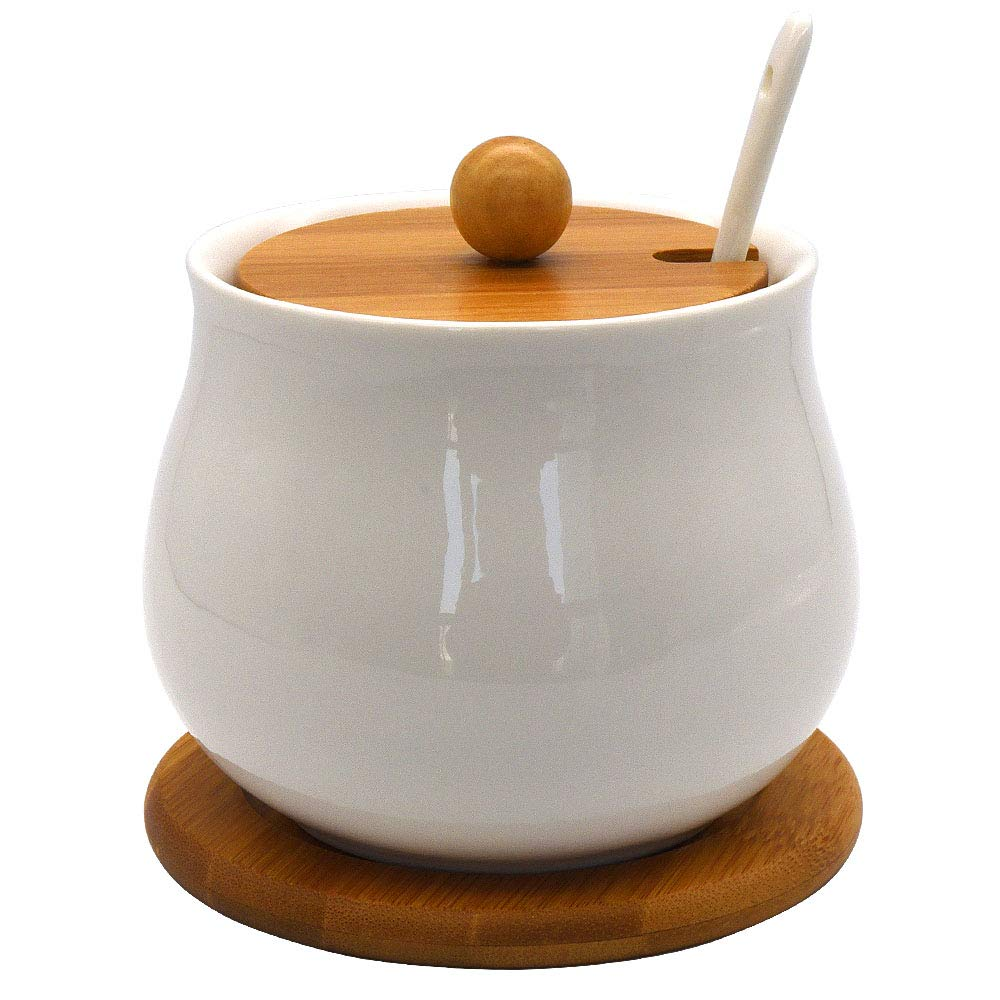 Vencer Ceramic Sugar Bowl with Serving Spoon and Bamboo Lid, Bamboo Base, 17.6 oz, Drum Shape, Sugar Canister, Sugar Dispenser,Mother's Day Gift