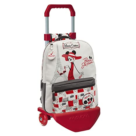 Disney Minnie Paris Mochila con Carro, Color Blanco