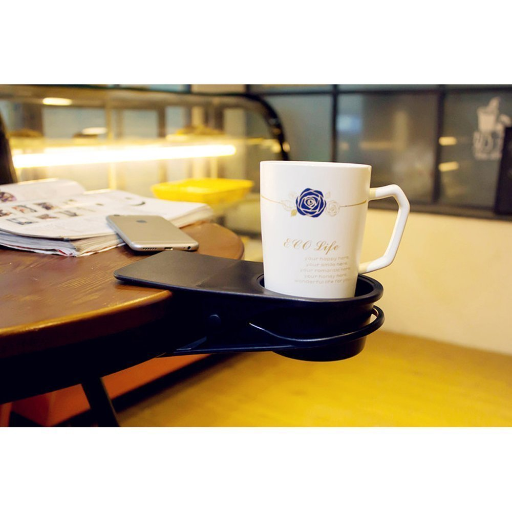 Amazon supercope table desk side bottle cup stand the diy amazon supercope table desk side bottle cup stand the diy glass clamp storage saucer clip water coffee mug holder clip design black and white home geotapseo Gallery