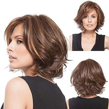 Andouy Perruques Femme Cheveux Boucles Naturelle Perruques Femmes Courte Frises Bresilien Perruques Marron 36cm Amazon Fr Beaute Et Parfum