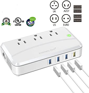 Poweradd 4 USB Universal Travel Adapter Plug Dual Voltage Converter UK//US//AU US