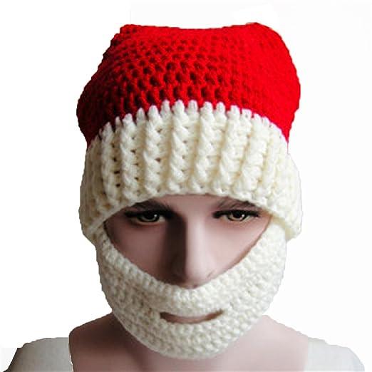 Amazon.com  Tonsee Knitted Winter Hat with Beard Christmas Santa ... 7231b1c1378