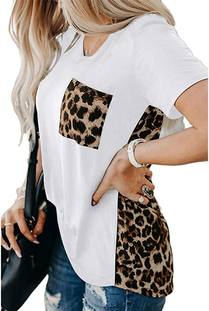 LORSU Womens Sunflower T-Shirts Colorblock Leopard Print Tunic Tops Blouses with Pocket