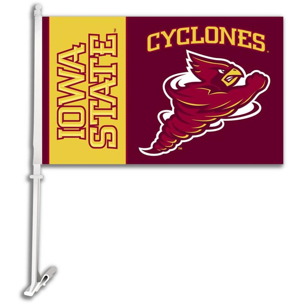 IOWA STATE CYCLONES Car Flag w/Wall Brackett Set of 2 BSI PRODUCTS INC.