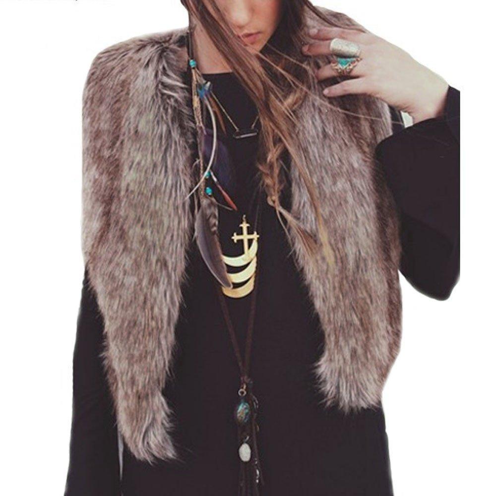 Fullnoon Faux Fur Sleeveless Vest for Women Casual Sherpa Jacket V-Nexk Plaid Open Front Cardigan Short Gilet Fuzzy Waistcoat Outwear Plus Size