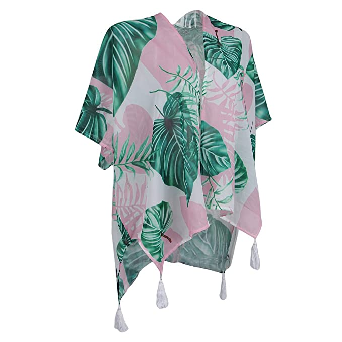 Magideal Blusa Kimono Tropical Blusa Chal Borlas Diseño Vestido de Vocación Bikini Mujeres Gasa Suave Cover